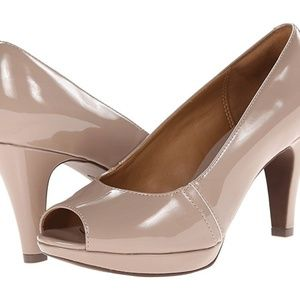 Clark's Taupe Narine Row Peep Toe Heel